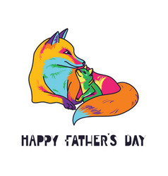 happy fathers day card dad and kid animals vector image vector image
