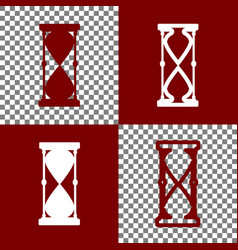 Hourglass sign bordo and vector