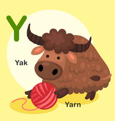 isolated animal alphabet letter y-yak yarn vector image