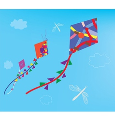 Kites and dragonfly in the sky vector image