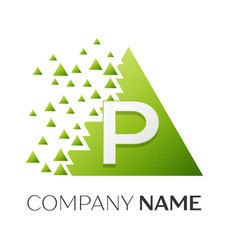 Letter p logo symbol in colorful triangle vector