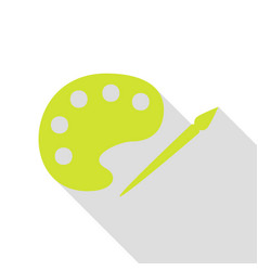 Palette and paint brush sign pear icon with flat vector