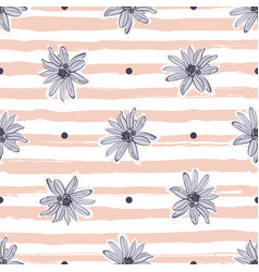 pastel flower pattern seamless trendy striped vector image vector image