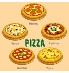 Pizza italian cuisine menu card vector