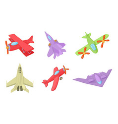 plane icon set cartoon style vector image vector image