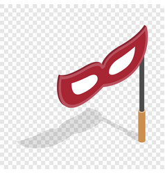 Red mask on a stick isometric icon vector