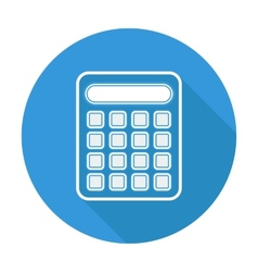 Single flat calculator icon with long shadow vector image