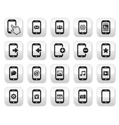 Smartphone mobile or cell phone buttons set vector