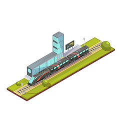 suburban train terminal composition vector image