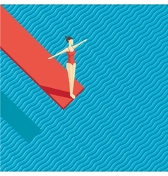 Swiming pool with a diving board girl jumping on vector