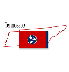 tennessee state map and flag vector image vector image