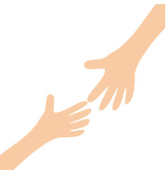 Two hands arms reaching to each other helping vector