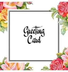 Wedding or birthday card floral frame watercolor vector