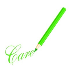 Green pencil and care letter vector image