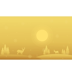 Silhouette of spruce and deer winter christmas vector