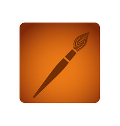 orange emblem paint brush icon vector image