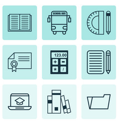 Set of 9 school icons includes diploma library vector