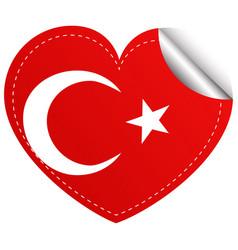 Sticker design for turkey flag in heart shape vector