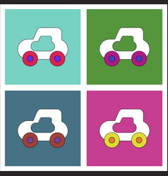 flat icon design collection toy car vector image