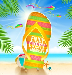 Flip-flop with summer greeting vector