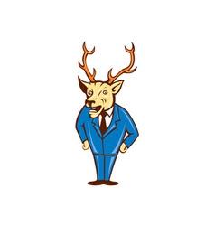 Stag deer hands on hips standing cartoon vector