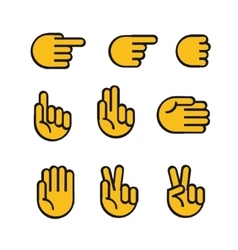Cartoon style hands icons set vector