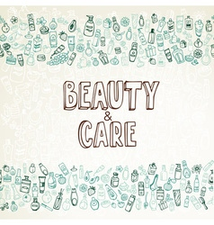 Doodle cosmetics and self-care background vector