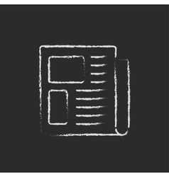 Newspaper icon drawn in chalk vector