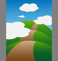 The hills and clouds vector