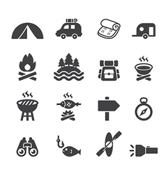 Camp icon set vector