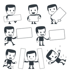 Cartoon man with signs vector