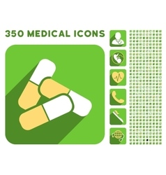 Pills icon and medical longshadow icon set vector