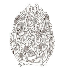 Happy easter monochrome for adult coloring book vector
