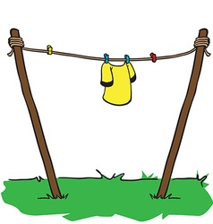 shirt drying on a string vector image