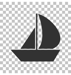 Sail boat sign dark gray icon on transparent vector