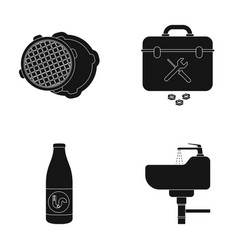 a sewer hatch a tool box a wash basin and other vector image
