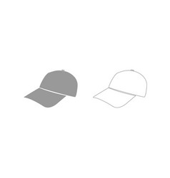 Baseball cap grey set icon vector