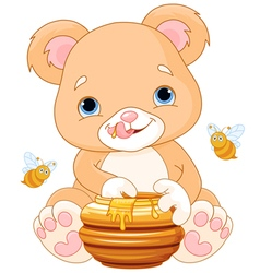 Bear holds honey jar vector