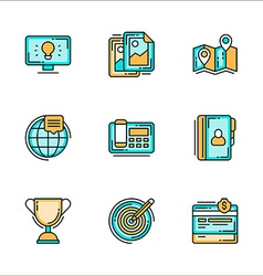 Business processes related icons colored flat vector
