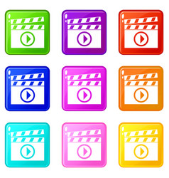 clapperboard for movie shooting icons 9 set vector image vector image