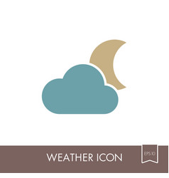 Cloud moon icon meteorology weather vector