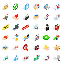 Computer protection icons set isometric style vector