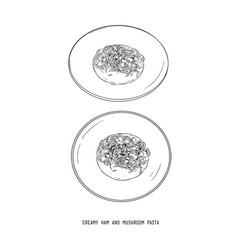 creamy ham and mushroom pasta hand draw sketch vector image vector image