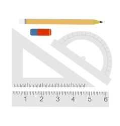 Education set pencil eraser protractor vector