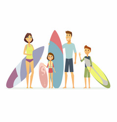 Family goes surfing - cartoon people characters vector