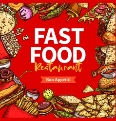 Fast food restaurant sketch poster for menu design vector