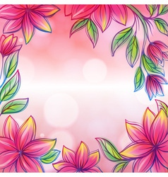 Floral frame retro style design template vector image vector image