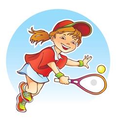 Girl playing tennis vector