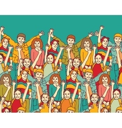 Group of happy smiling children and sky outdoors vector image