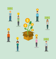 Group of people money to box funding creativity vector